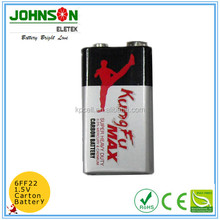 Environmental original 6F22 size 9V Zinc Carbon silver jacket battery 0% mercury cadmium lead Mercury Free 0% Cd/Pb/Hg