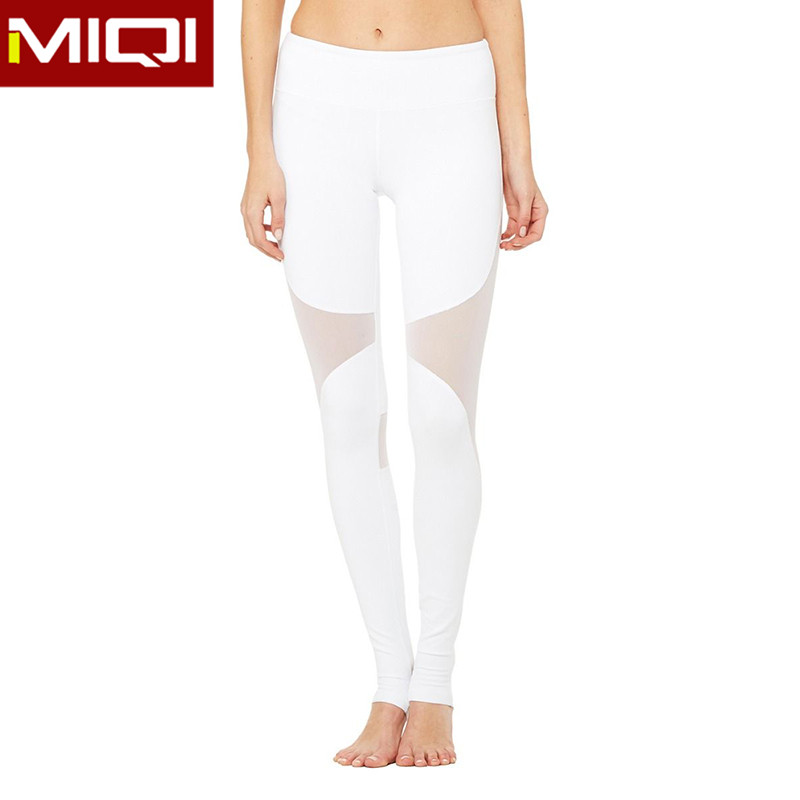 Wholesale woman sports pants great stretch nylon and spandex ladies yoga pants with mesh design