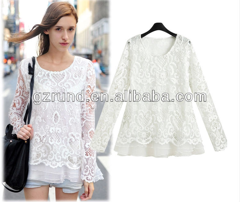 Casual Latest Lace Blouse Designs Lady Blouse,Ladies Blouses And ...