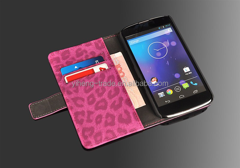 2014 High quality New Leopard Leather Flip case high quality case cover for Google Nexus 4 E960 LG