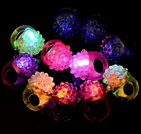 Light-Up Jelly Bumpy Rings Flashing LED Bubble Rave Party Favors Blinking