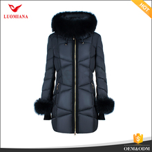 long down coat for mid age lady down coat with fur hood and sleeve woman warm goose down jacket