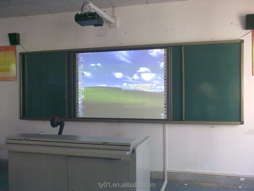 interactive projector screen touch whiteboard with short throw projector and mobile stand