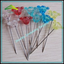 Wedding Decoration Supplies 42mm Glossy Clear Colors Plastic Flower Head Rustproof Steel Cute Corsage Pin