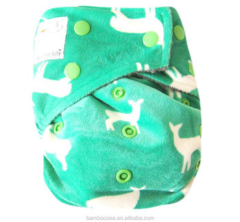 Baby Bamboo Charcoal One Size Cloth Diaper with 2 Four Layers Inserts