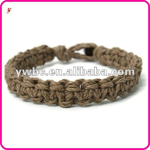 Brown braided cord flat hemp bead bracelet(B401180)