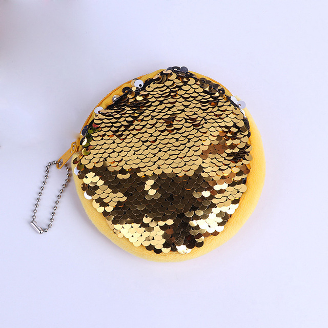 Shinny bag Key chain metal custom keychain yiwu cheap shinny sequined coin bag