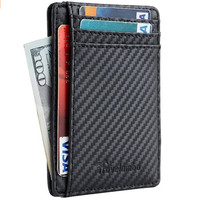 2018 hot sale High Quality Simple fashion RFID leather card holder wallet