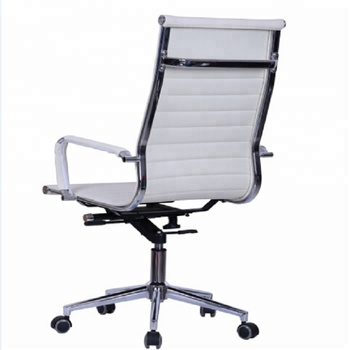 906A# Commercial popular white vinyl leather ribbed back swivel office chairs