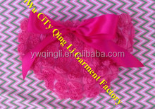 Hot Pink Baby Cloth Summer Lace Ruffle Bum Baby Bloomer with Red Bowknot Diaper Cover