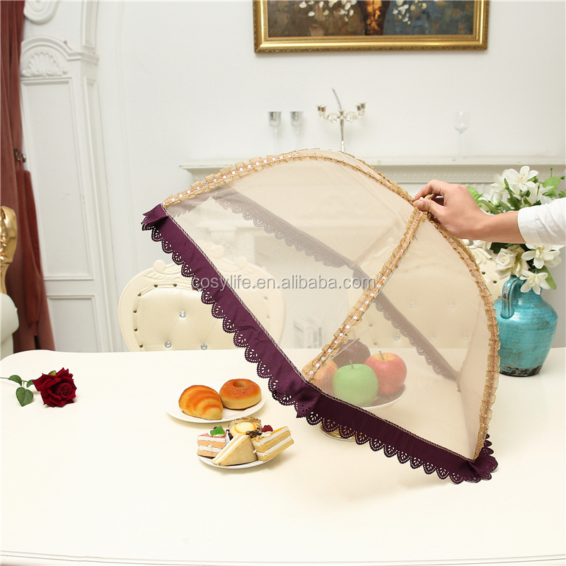 Outdoor Circular Lace Food Cover Prevent Fly Insect Net Umbrella Style Kitchen
