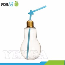 320 ml Light Bulb Drinking Jar Cocktail Glass Bottle with Lid Straw