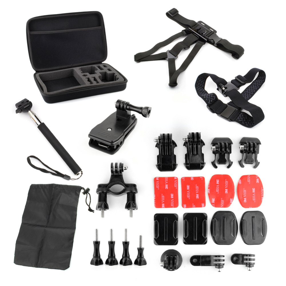 QIUNIU Action Cam Accesories Camera Accessories Kit Set For Gopro Hero 5 4 3 Sjcam Xiaomi Yi 4K
