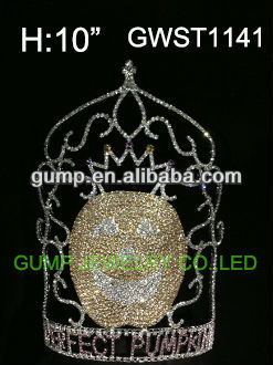 Large pumkin Halloween pageant custom rhinestone tiara crown -GWST1141