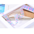 Customize polyester polka dots printed chiffon organza ribbon for gift packing