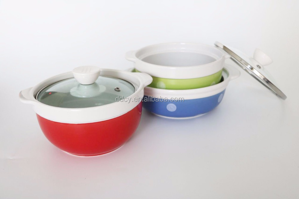 Stocked type Ceramic Casserole porcelain pot with Clear Glass Lid and handles for cooking