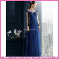 HE9388 Brand new with high quality cap sleeve elegant lace appliqued ruched top tulle skirt sheer top Aline navy blue prom dress