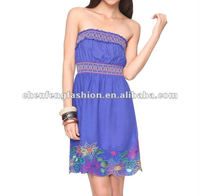 CHEFON Embroidered Strapless Dress CF0089