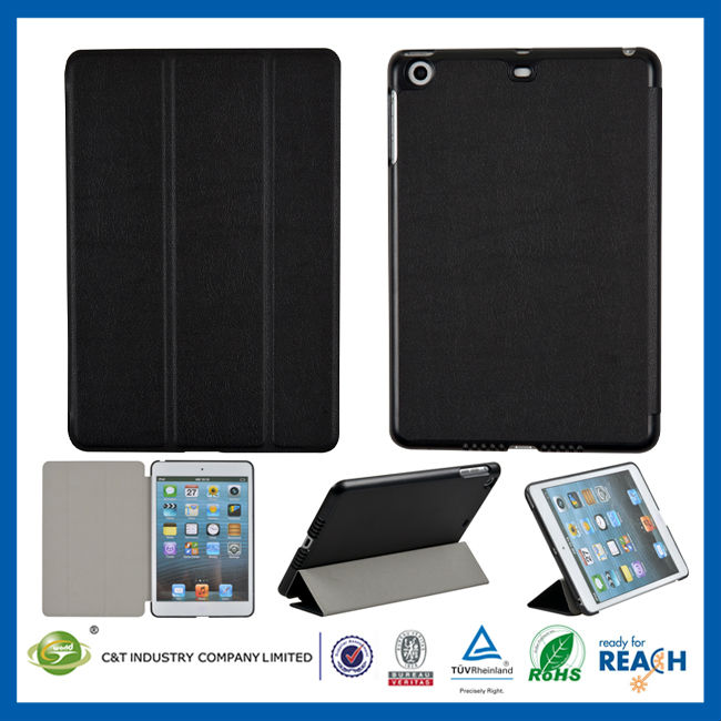 C&T New fresh stand flip portfolio pu leather smart cover for new ipad mini case