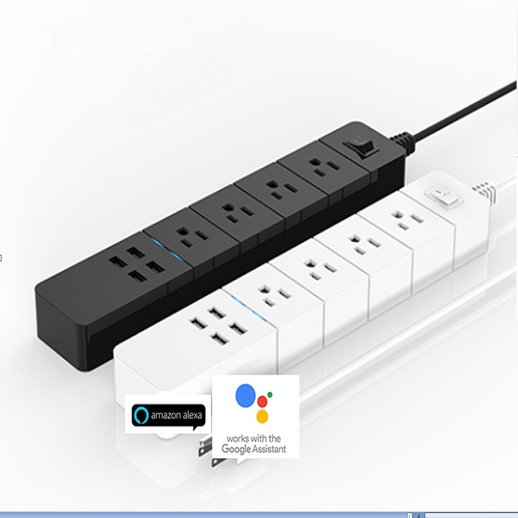 Alexa And Google Home Controled Standard US,EU,UK Optional 4 USB Jack Socket With Phone App