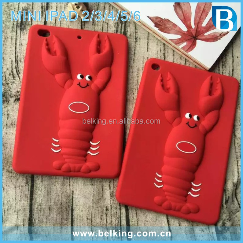 3D Cute Lobster Design Silicone Tablet Case For iPad mini Shockproof Cover case