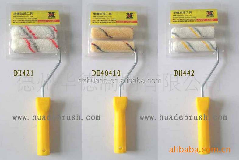4 mini acrylic paint roller with 11mm nap dia 15mm yellow strips