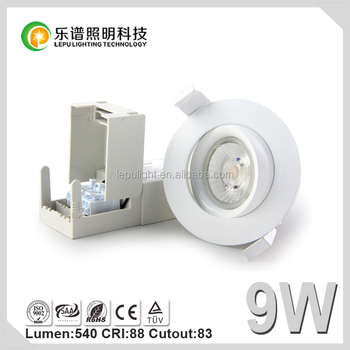CE Rohs NEMKO Ra>92 CCT adjustable Cutout 83mm led downlight 9w ip44