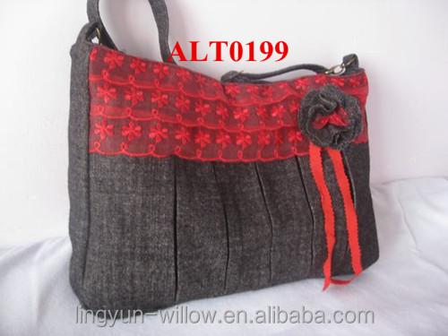 handmade women shoulders fabric bag with lace for decoration