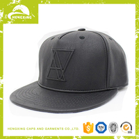 5 Panel Blank Leather Strapback Snapback Hat/Cap