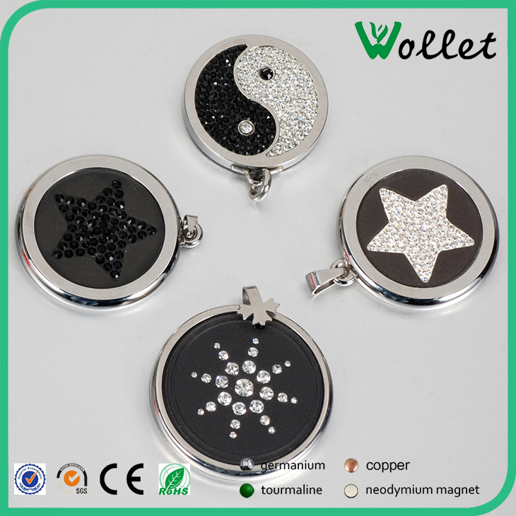 Healthy Fashion Round CZ Stone Scalar Energy Pendant in stainless steel jewelry