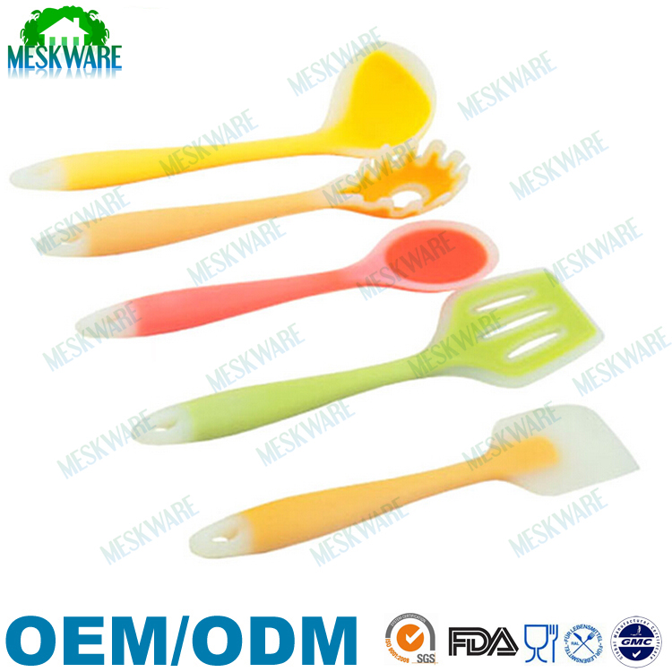 BPA free green 5-piece silicone utensil set, silicone kitchen tools utensils