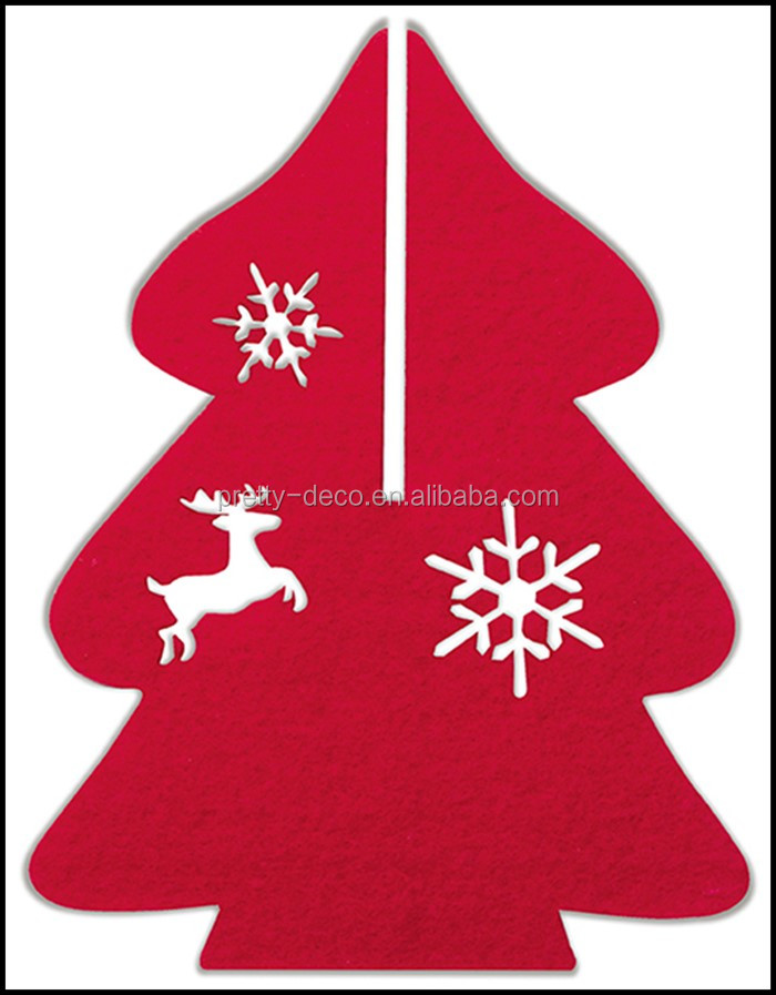 Christmas Decorations 3d Shapes Ks2 : D red felt christmas tree shape decoration set with pvc