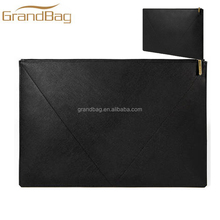 Black Genuine Saffiano Leather Hand Bag Protective Laptop Sleeve Cover Minimal Design Clutch bag multi-functional case