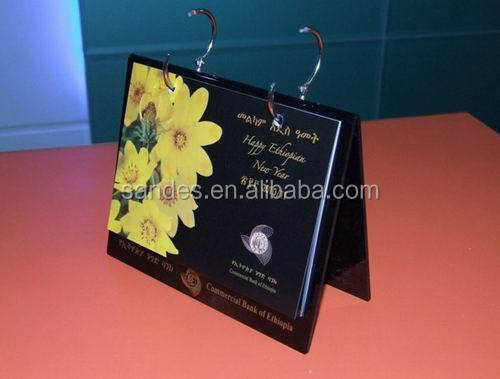 Black Base Plastic Calendar Holder with Pattern