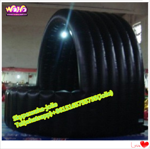 Attractive outdoor event black inflatable booth/dome bar for sale A054
