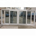 Energy saving UPVC tinted glass sliding window 4 panel
