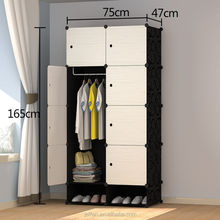 Factory supply folding portable plastic wardrobe storage cabinet for home living room