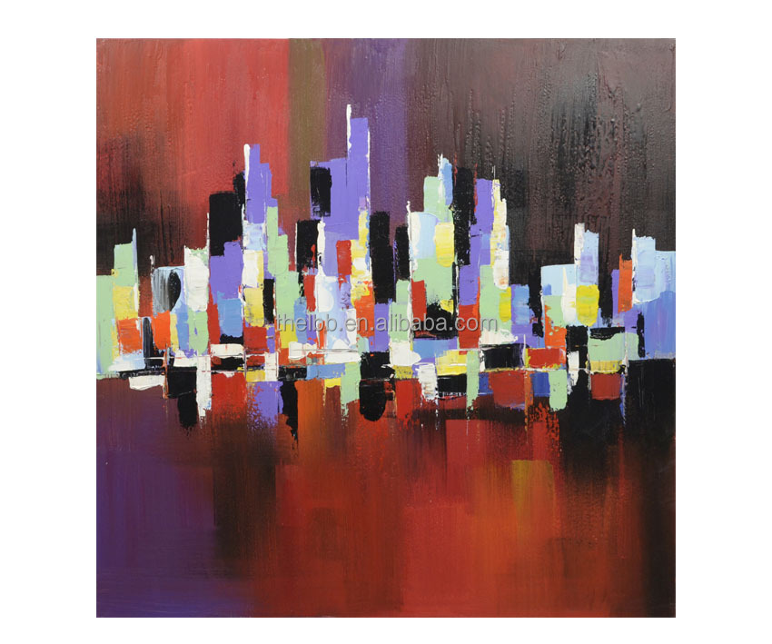 Colorful Abstract Handmade City Painting