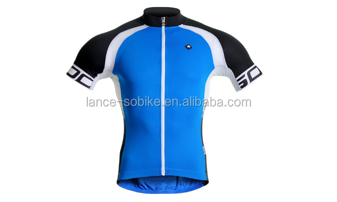 Men's Sublimated Print Race Cut Short-Sleeve Blue/White Biking Cycling Jersey