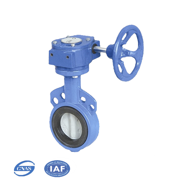 worm gear drive wafer type cast iron butterfly valve dn65
