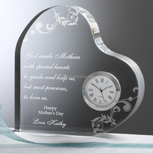 Business place gifts custom Peach heart shape Crystal clock