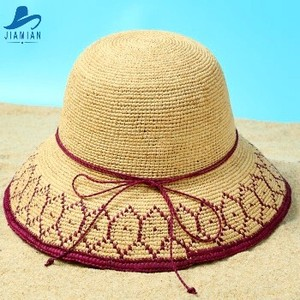 Linyi Jia Mian Factory New Fashion Dress With Feathers Women Summer Promotional Wide Brim Straw Lady Hat Bow For Shooting