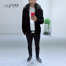 Fashion Hou Sale New Design Real Sheep Fur Jacket With Dyed Fox Fur Collar Zipper Pocket Sleeve For Men Autumn Winter Business