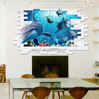 AM9108 3D Dolphin Stickers Removable Waterproof Wall Decals Bathroom Creative Stickers Wholesale Murals for Home Decor