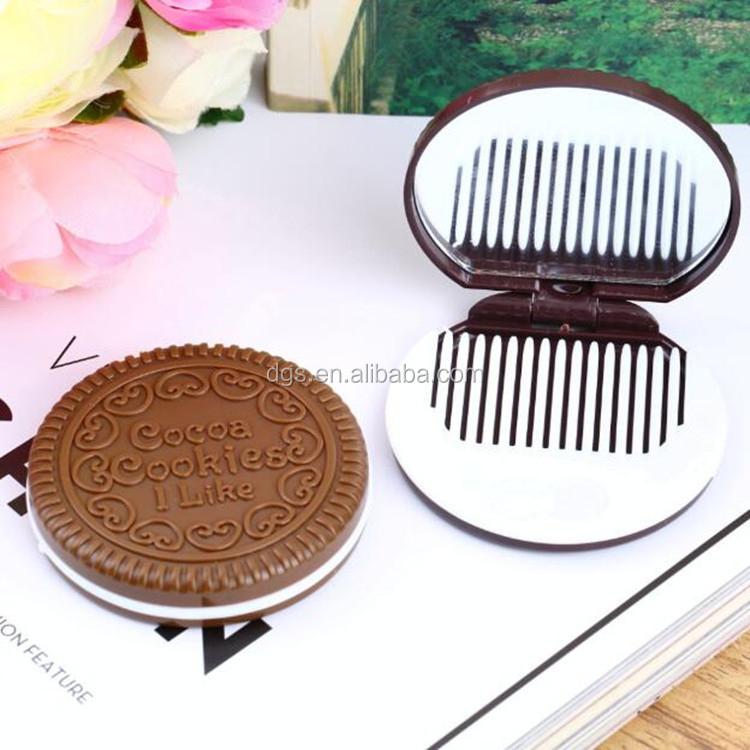 wholesale portable cute chocolate cookie shape cosmetic comb vanity girl hollywood makeup mirror