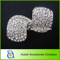Fashion clear crystal bow rhinestone shoe clips for lady shoes