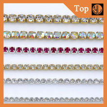 Low price beautiful 888 mc cut chain crystal trimmings chain with crystal stone for garment