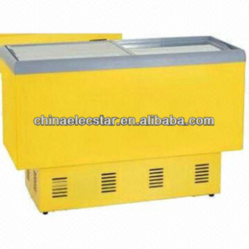commercial island freezer with flat glass door for supermarket use