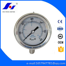 "0-60psi/bar Good Quality 4"" Stainless Steel Liqiud Pressure Gauge High Standard Brass Internals"