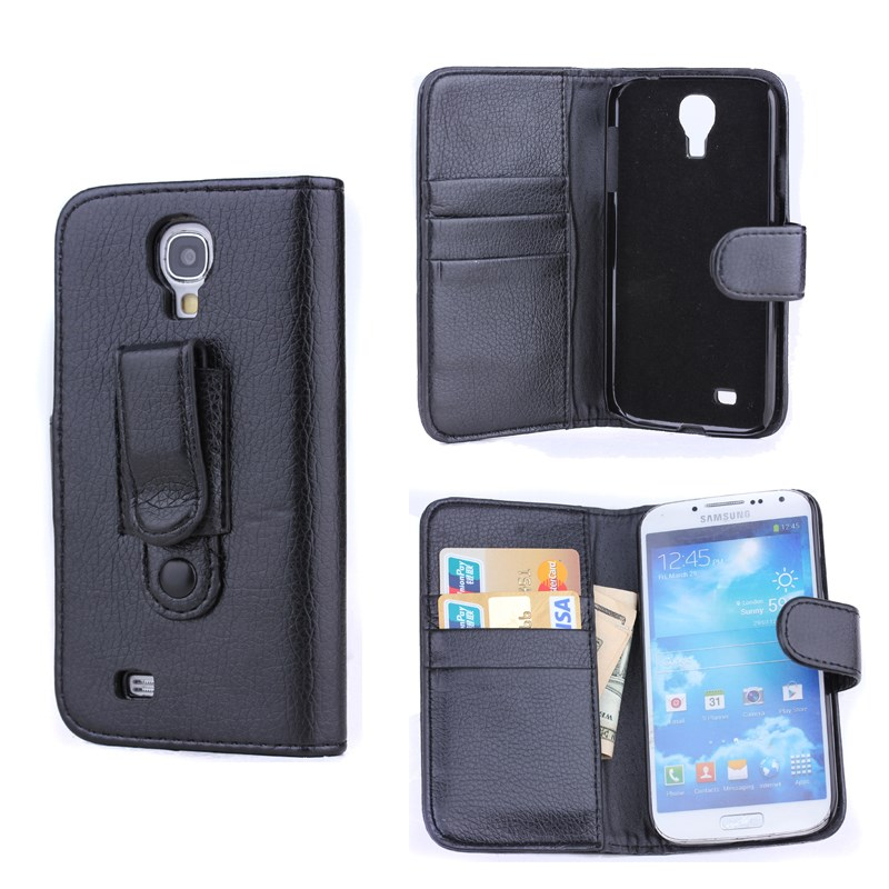 Black Leather Wallet Case for Samsung S4 mini with Holder, for samsung s4 mini leather flip cover